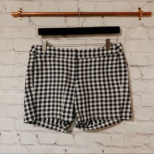 J Crew black and white gingham shorts